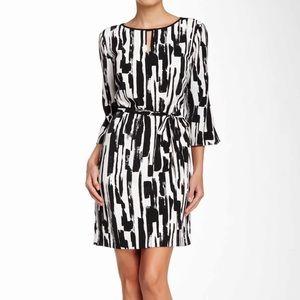 Tahari Paintstroke Sheath Dress Black White 14